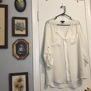 Worn Once- Sheer Cream Pocket Blouse Women's XL